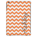 Trendy Chevron Pattern with name - orange gray iPad Air Cover
