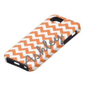 Trendy Chevron Pattern with name - orange gray iPhone 5 Cover