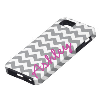 Trendy Chevron Pattern with name - pink gray iPhone 5 Covers