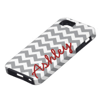 Trendy Chevron Pattern with name - red gray iPhone 5 Cases