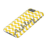 Trendy Chevron Pattern with name - yellow gray Barely There iPhone 6 Case