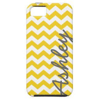 Trendy Chevron Pattern with name - yellow gray iPhone 5 Covers