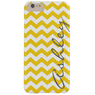 Trendy Chevron Pattern with name - yellow gray Barely There iPhone 6 Plus Case