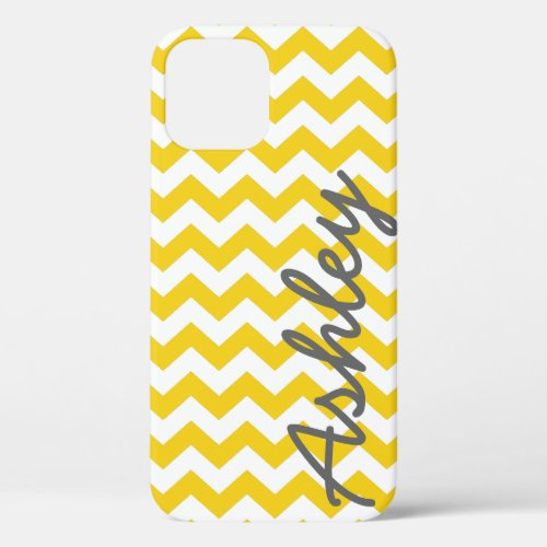 Trendy Chevron Pattern with name - yellow gray Phone Case