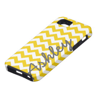 Trendy Chevron Pattern with name - yellow gray iPhone 5 Cases