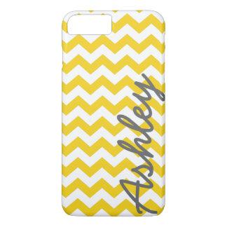 Trendy Chevron Pattern with name - yellow gray iPhone 8 Plus/7 Plus Case