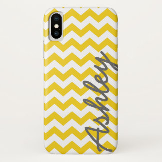 Trendy Chevron Pattern with name - yellow gray iPhone X Case
