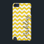 "Trendy Chevron Pattern with name - yellow gray iPod Touch (5th Generation) Cover<br><div class=""desc"">A bold,  graphic design with zig zags in fun colors. Add your name or delete the text for a fun summer cover.</div>"