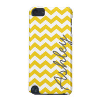 Trendy Chevron Pattern with name - yellow gray iPod Touch (5th Generation) Cover