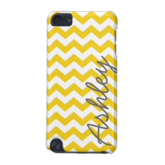 Trendy Chevron Pattern With Name - Yellow Gray Ipod Touch (5th Generation) Cover at Zazzle