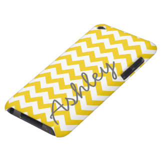Trendy Chevron Pattern with name - yellow gray iPod Touch Cover