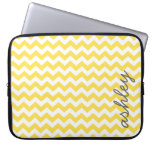 Trendy Chevron Pattern with name - yellow gray Computer Sleeves