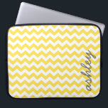 "Trendy Chevron Pattern with name - yellow gray Laptop Sleeve<br><div class=""desc"">A bold,  graphic design with zig zags in fun colors. Add your name or delete the text for a fun summer cover.</div>"