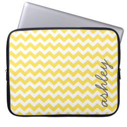 Trendy Chevron Pattern with name - yellow gray Laptop Sleeve