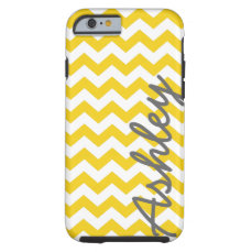 Trendy Chevron Pattern with name - yellow gray Tough iPhone 6 Case