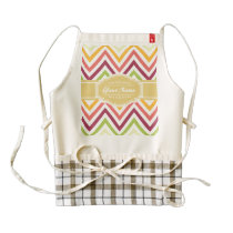 Trendy Chevron Pattern with Personalized Name Zazzle HEART Apron