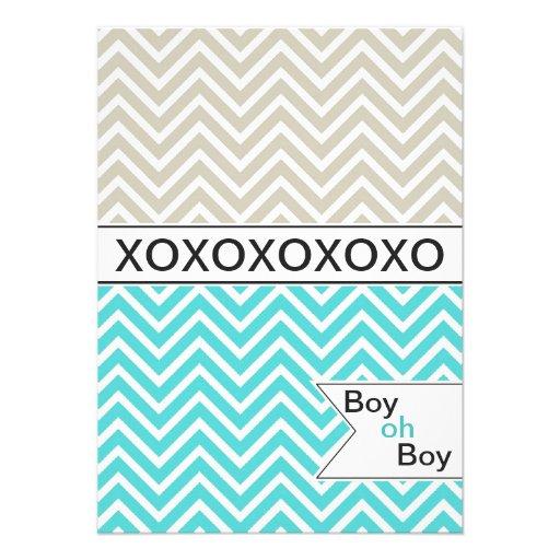trendy chevron xoxo baby shower invitation boys 4 5 x