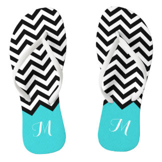 Trendy Chevron Zigzag Monogram Stylish Aqua Green Flip Flops