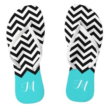 Beach Themed Trendy Chevron Zigzag Monogram Stylish Aqua Green Flip Flops