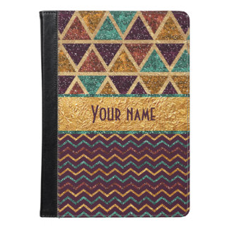 Trendy Chevrons Triangles Faux Glitter Gold Foil iPad Air Case