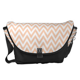 Trendy chic apricot chevron zigzag pattern courier bag