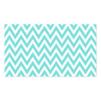 Trendy chic aqua blue chevron zigzag pattern Double-Sided standard business cards (Pack of 100)