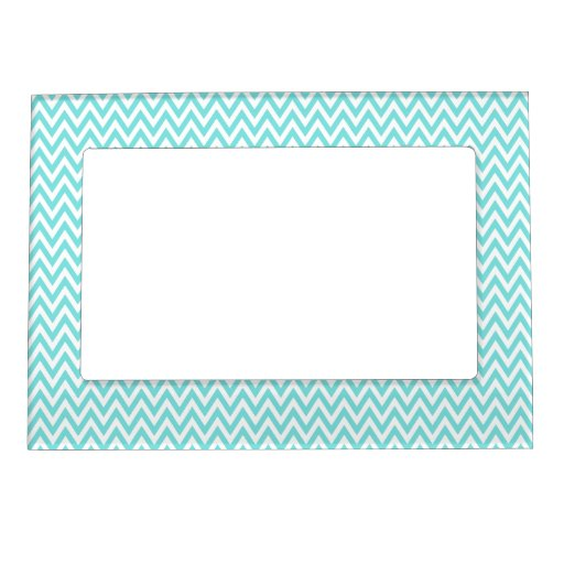 Trendy chic aqua blue chevron zigzag pattern magnetic picture frame