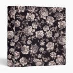 Trendy Chic Black & White Vintage Elegant Floral Vinyl Binders