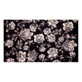 Trendy Chic Black & White Vintage Elegant Floral Double-Sided Standard Business Cards (Pack Of 100)