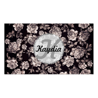 Trendy Chic Black & White Vintage Floral Monogram Business Cards