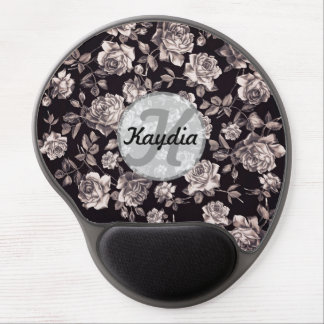 Trendy Chic Black & White Vintage Floral Monogram Gel Mousepad