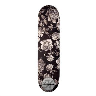 Trendy Chic Black & White Vintage Floral Monogram Skateboard Deck