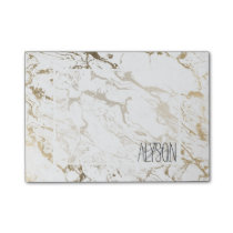 Trendy chic faux gold white marble pattern post-it notes