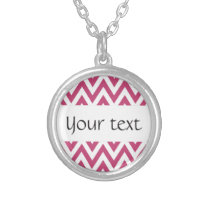 Trendy chic fuchsia rose chevron zigzag pattern silver plated necklace