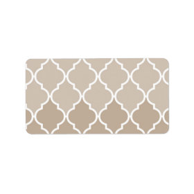 Trendy Chic Girly Cream Brown Quatrefoil Pattern Personalized Address Labels