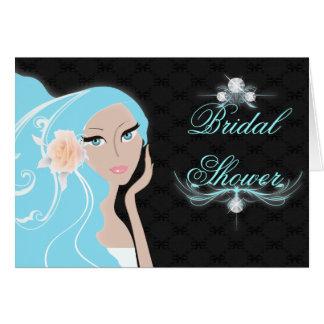 trendy chic girly fashionista bridal shower card