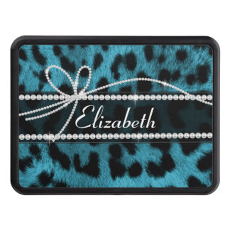 trendy chic girly faux blue black leopard fur trailer hitch covers
