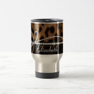 Trendy chic girly faux brown black leopard animal 15 oz stainless steel travel mug