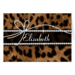 Trendy chic girly faux brown black leopard animal greeting card