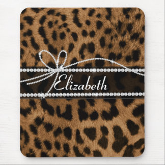 Trendy chic girly faux brown black leopard animal mouse pad