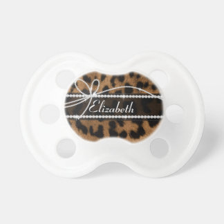 Trendy chic girly faux brown black leopard animal pacifier