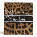 Trendy chic girly faux brown black leopard 3 ring binder