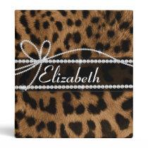 Trendy chic girly faux brown black leopard binder