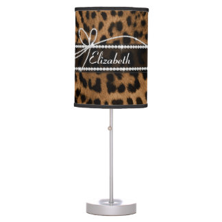 Trendy chic girly faux brown black leopard table lamps