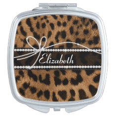 Trendy Chic Girly Faux Brown Black Leopard Mirror For Makeup at Zazzle