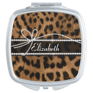 Trendy chic girly faux brown black leopard mirror for makeup