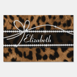 Trendy chic girly faux brown black leopard yard sign
