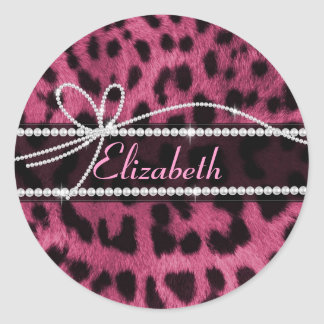 Trendy chic girly faux hot pink leopard animal classic round sticker