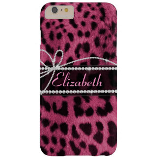 Trendy chic girly faux hot pink leopard animal fur barely there iPhone 6 plus case