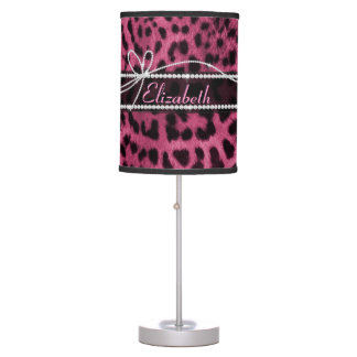 Trendy chic girly faux hot pink leopard animal fur desk lamp
